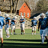 The Leominster High Blue Devils practice on Tuesday afternoon at Doyle Field. SENTINEL & ENTERPRISE / Ashley Green
