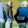 Head Coach Dave Palazzi watches as the Leominster High Blue Devils practice on Tuesday afternoon at Doyle Field. SENTINEL & ENTERPRISE / Ashley Green