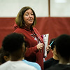 Fitchburg High's new head coach Cindy Donelan runs indoor track practice on Wednesday afternoon. Donelan is taking over for longtime coach Chris Woods. SENTINEL & ENTERPRISE / Ashley Green