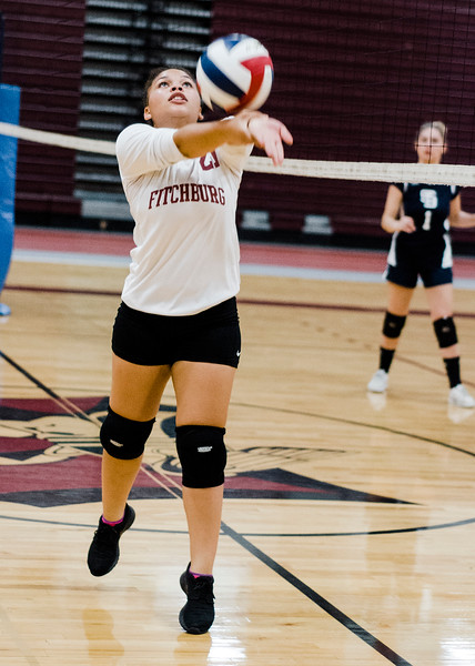 Fitchburg High's Anahi Cordero Libero in action during the match against St. Bernard's on Tuesday, September 26 ,2017. SENTINEL & ENTERPRISE / Ashley Green