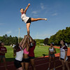 Fitchburg High School cheerleaders practice stunts at Crocker Field on Thursday afternoon. Because of not being an MIAA sport, the team is not allowed to start practices the week before school starts like other sports. SENTINEL & ENTERPRISE / Ashley Green