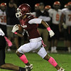 Fitchburg High School football played Marlborough High School on Friday night, October 5, 2018. FHS's Devin DeLeon takes off for a great run after a catch in the first half. SENTINEL & ENTERPRISE/JOHN LOVE