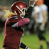 Fitchburg High School football played Marlborough High School on Friday night, October 5, 2018. FHS's Trey Winters celebrates a touchdown during action in the game. SENTINEL & ENTERPRISE/JOHN LOVE
