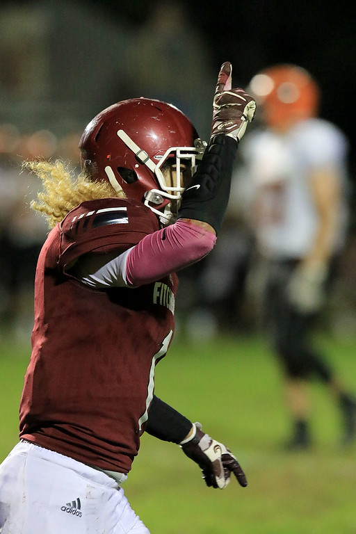 . Fitchburg High School football played Marlborough High School on Friday night, October 5, 2018. FHS\'s Trey Winters celebrates a touchdown during action in the game. SENTINEL & ENTERPRISE/JOHN LOVE