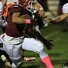 Fitchburg High School football played Marlborough High School on Friday night, October 5, 2018. FHS's Anthony Oquendo tries to make it up field with the ball during action in the game. SENTINEL & ENTERPRISE/JOHN LOVE