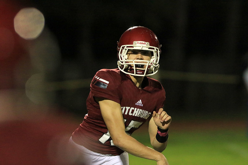 Fitchburg High School football played Marlborough High School on Friday night, October 5, 2018. Quarterback Andrew Brooks makes a pass during action in the game. SENTINEL & ENTERPRISE/JOHN LOVE