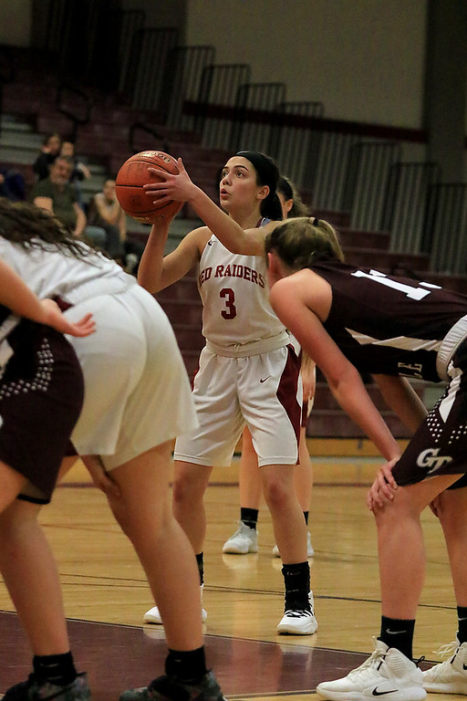 . Groton Dunstable Regional High School girls basketball made it\'s way to Fitchburg to play Fitchburg High School on Friday night, January 18, 2019. FHS\'s Rachel Romero takes a free throw. SENTINEL & ENTERPRISE/JOHN LOVE