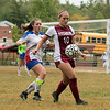 Fitchburg  High School girls soccer played West Boylston High School on Wednesday afternoon, Oct. 2, 2019 in Fitchburg. FHS's #10 Elle Scott with WBHS's #7 Abbey O'Brien. SENTINEL & ENTERPRISE/JOHN LOVE