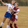 Fitchburg  High School girls soccer played West Boylston High School on Wednesday afternoon, Oct. 2, 2019 in Fitchburg. Riely MacMaster #14 FHS's #2 Zoe Mier. SENTINEL & ENTERPRISE/JOHN LOVE