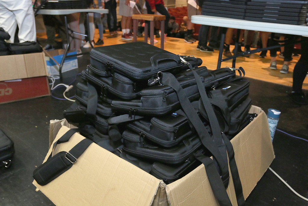. The junior class at Fitchburg High School got Chromebook laptops on Thursday morning, September 14, 2017. Cases for the new computers wait to be give out to the students. SENTINEL& ENTERPRISE/JOHN LOVE