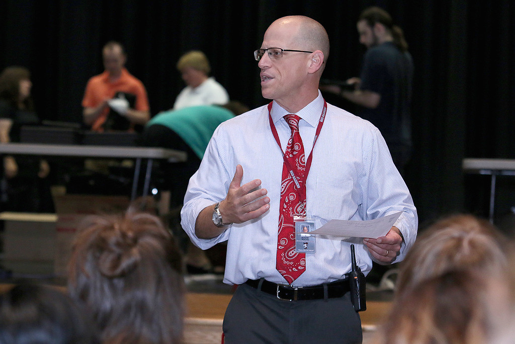 . The junior class at Fitchburg High School got Chromebook laptops on Thursday morning, September 14, 2017. Principal Jeremy Roche talks to the students about the new computers just before they were given out. SENTINEL& ENTERPRISE/JOHN LOVE