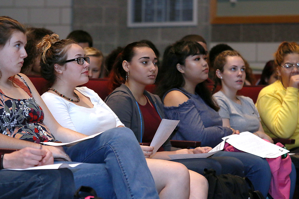 . The junior class at Fitchburg High School got Chromebook laptops on Thursday morning, September 14, 2017. Students listen to Principal Jeremy Roche talk about the new computers just before they were given out. SENTINEL& ENTERPRISE/JOHN LOVE
