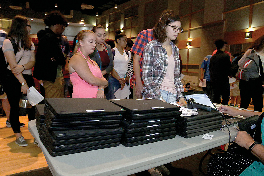 . The junior class at Fitchburg High School got Chromebook laptops on Thursday morning, September 14, 2017. Some of the Cromebooks wait to be given out to the students. SENTINEL& ENTERPRISE/JOHN LOVE