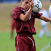 Fitchburg High School boys soccer played Clinton High School on Thursday, October 4, 2018. FHS's Mauro Fernandez heads the ball during  action in the game. SENTINEL & ENTERPRISE/JOHN LOVE