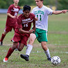 Fitchburg High School boys soccer played Clinton High School on Thursday, October 4, 2018. FHS's Williams Martinez tries to get by CHS's Chris Heinsohn-Roe. SENTINEL & ENTERPRISE/JOHN LOVE