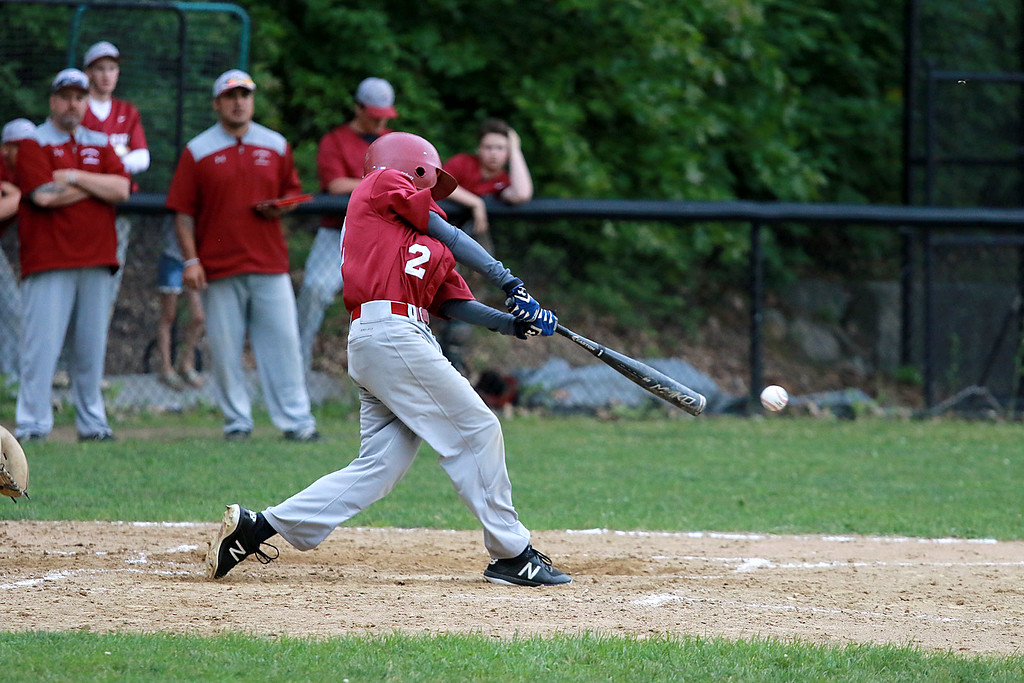 . Fitchburg High School played Groton Dunstable Regional High School on Thursday afternoon in the Central Mass. Division 1 first round. FHS\'s Devin LeBlanc swings at a pitch. SENTINEL & ENTERPRISE/JOHN LOVE