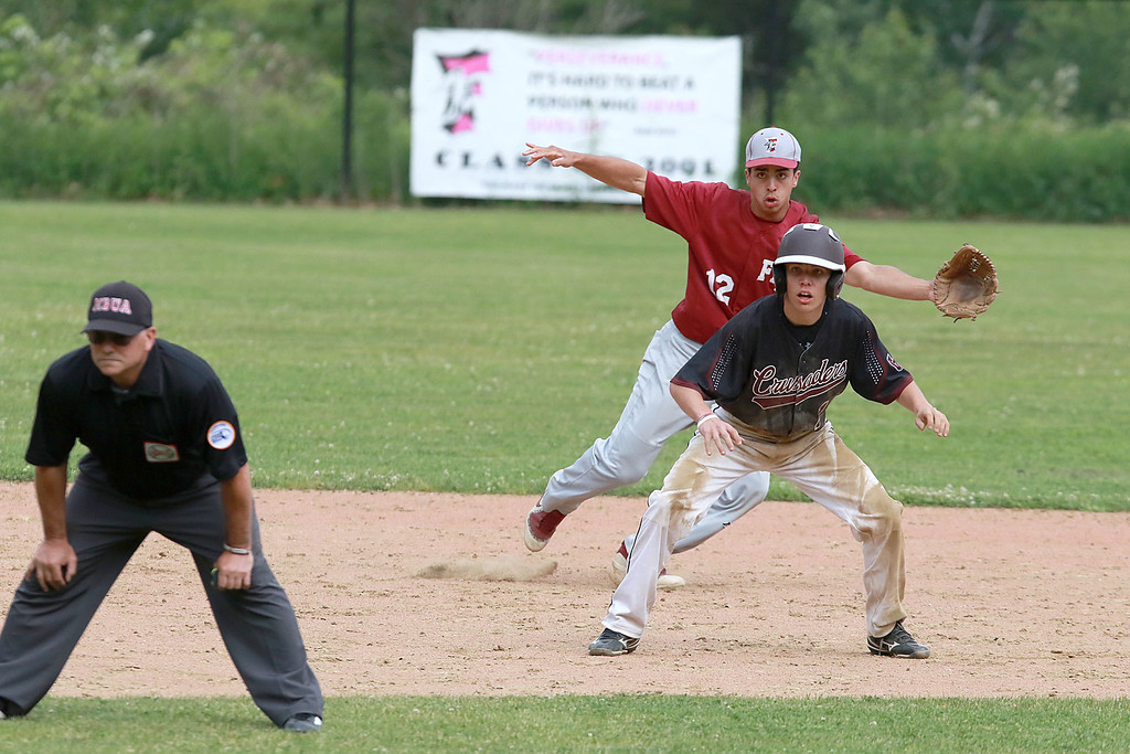 . Fitchburg High School played Groton Dunstable Regional High School on Thursday afternoon in the Central Mass. Division 1 first round. GDRHS player Doug Tompkins leads off second. behind him is FHS\'s shortstop Anthony Silverio. SENTINEL & ENTERPRISE/JOHN LOVE