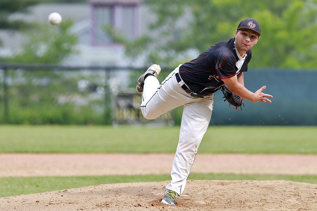 . Fitchburg High School played Groton Dunstable Regional High School on Thursday afternoon in the Central Mass. Division 1 first round. GDRHS pitcher Shamus Gelinas winds up to deliver a pitch. SENTINEL & ENTERPRISE/JOHN LOVE