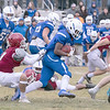 Leomimnster High School visited Crocker Field in Fitchburg to play Fitchburg High School for the 125th meeting of the two teams. FHS's #11 Jesus Padilla tries to take down LHS's #4 Voshon Dixon. SENTINEL & ENTERPRISE/JOHN LOVE