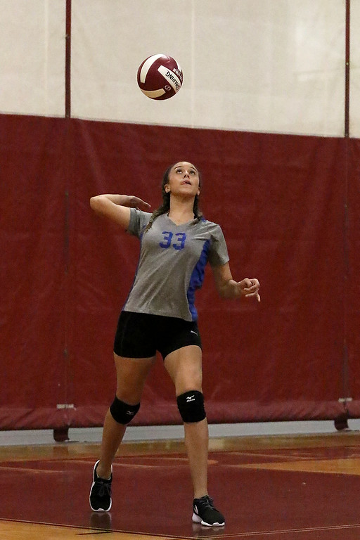 . Fitchburg High School played Leominster High School volleyball on Tuesday afternoon in Fitchburg. LHS\'s Julie Aguilar serves up the ball during action in the game.   SENTINEL & ENTERPRISE/JOHN LOVE