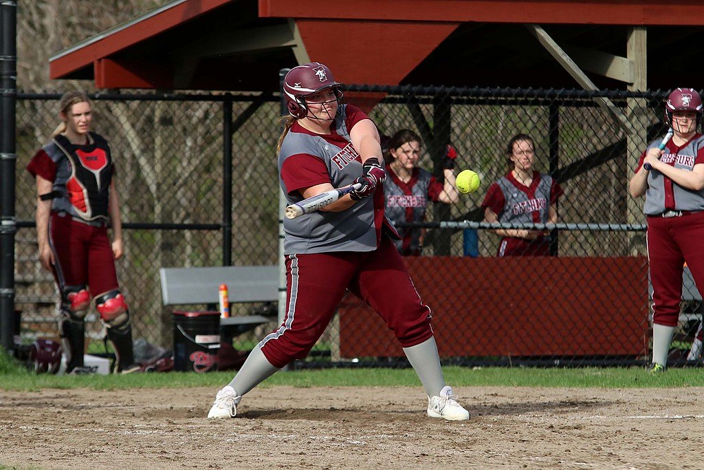 . Lunenburg Middle High School softball played Fitchburg High School in Fitchburg Friday afternoon, May 4, 2018. FHS\'s pitcher Hannah Faulkner swings at a pitch during action in the game. SENTINEL & ENTERPRISE/JOHN LOVE