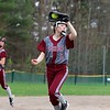 Lunenburg Middle High School softball played Fitchburg High School in Fitchburg Friday afternoon, May 4, 2018. FHS's third baseman Lainey Jaramillo makes a nice catch after a pop up in the infield during action in the game. SENTINEL & ENTERPRISE/JOHN LOVE