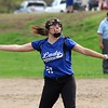 Lunenburg Middle High School softball played Fitchburg High School in Fitchburg Friday afternoon, May 4, 2018. LMHS pitcher Leah Sowerbutts winds up to deliver a pitch during action in the game. SENTINEL & ENTERPRISE/JOHN LOVE
