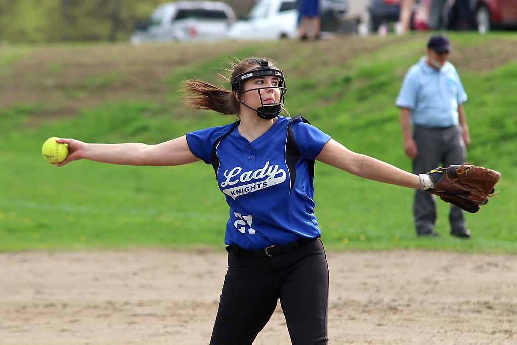 . Lunenburg Middle High School softball played Fitchburg High School in Fitchburg Friday afternoon, May 4, 2018. LMHS pitcher Leah Sowerbutts winds up to deliver a pitch during action in the game. SENTINEL & ENTERPRISE/JOHN LOVE