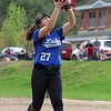 Lunenburg Middle High School softball played Fitchburg High School in Fitchburg Friday afternoon, May 4, 2018. LMHS pitcher Leah Sowerbutts makes a nice catch after a pop in the infield up during action in the game . SENTINEL & ENTERPRISE/JOHN LOVE