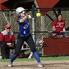Lunenburg Middle High School softball played Fitchburg High School in Fitchburg Friday afternoon, May 4, 2018. LMHS player Olivia Proctor tries to bunt during action in the game. SENTINEL & ENTERPRISE/JOHN LOVE