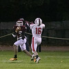 Fitchburg High School football played North Middlesex Regional High School on Friday night in Fitchburg. Nice catch by FHS's #3 Latrell Boddie and NMRHS's #16 Kobey LeBreton. SENTINEL & ENTERPRISE/JOHN LOVE