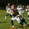 Fitchburg High School Played Nashoba Regional High School on Friday night in Fitchburg during the Central Mass. Division 4 semifinals. FHS's #7 Anthony Oquendo is takled by NRHS's #44 Connor Salmon. SENTINEL & ENTERPRISE/JOHN LOVE