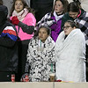 Fitchburg High School Played Nashoba Regional High School on Friday night in Fitchburg during the Central Mass. Division 4 semifinals. Fitchburg fans try and stay warm during the game. SENTINEL & ENTERPRISE/JOHN LOVE