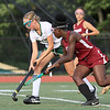 Nashoba Regional High School field hockey played Fitchburg High School Wednesday, September 26, 2018. FHS's Olamide Bamgbose and NRHS's Kira Spedden fight for control of the ball. SENTINEL & ENTERPRISE/JOHN LOVE