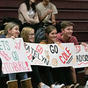 Fitchburg High School Unified Basketball hosted Oakmont Regional High School on Wednesday, Oct. 30, 2019. Fans hold signs for the FHS's team. SENTINEL & ENTERPRISE/JOHN LOVE