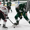 Fiutchburg High School/Monty Tech hockey played Oakmont Regional High school on Thursday afternoon, Feb. 13, 2020 at the Wallace Civic Center at Fitchburg State University in Fitchburg. FHS's #17 Max Beaulac and ORHS' 25 Jake Berkio during a faceoff. SENTINEL & ENTERPRISE/JOHN LOVE
