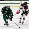 Fiutchburg High School/Monty Tech hockey played Oakmont Regional High school on Thursday afternoon, Feb. 13, 2020 at the Wallace Civic Center at Fitchburg State University in Fitchburg. ORHS's #10 Evan Thibault and FHS's #10 Christian Rodriguez. SENTINEL & ENTERPRISE/JOHN LOVE