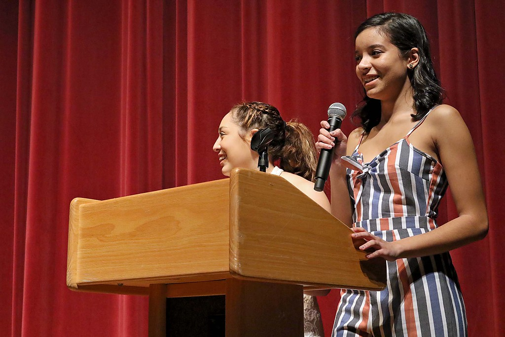 """. Fitchburg High School held its \""""Mr. Fitchburg\"""" competition on Thursday night in the school\'s auditorium. The master of ceremonyis for the night was seniors Ailene Alcantara and Rachely Romero. SENTINEL & ENTERPRISE/JOHN LOVE"""