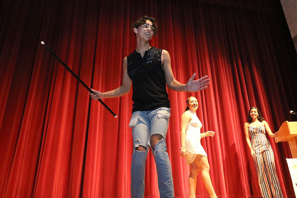 """. Fitchburg High School held its \""""Mr. Fitchburg\"""" competition on Thursday night in the school\'s auditorium. Showing off some dance moves during the competition was senior Nico Sosa. SENTINEL & ENTERPRISE/JOHN LOVE"""