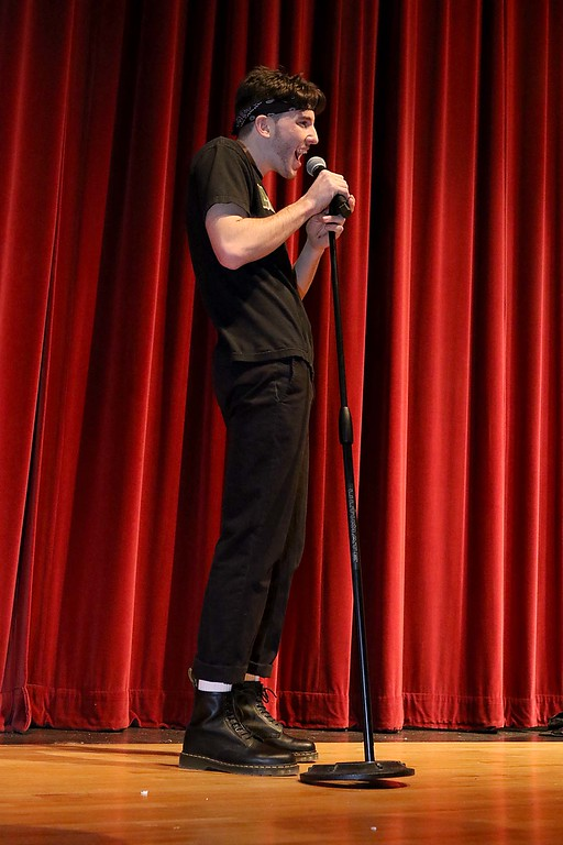 """. Fitchburg High School held its \""""Mr. Fitchburg\"""" competition on Thursday night in the school\'s auditorium. Showing off his vocal skills by singing some Journey during the competion was senior Sage Bray. SENTINEL & ENTERPRISE/JOHN LOVE"""