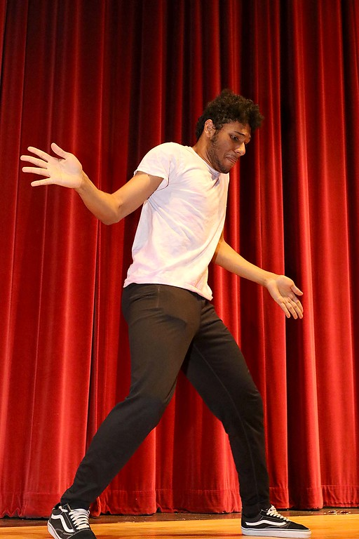 """. Fitchburg High School held its \""""Mr. Fitchburg\"""" competition on Thursday night in the school\'s auditorium. Doing a dance routine during the competion was senior Gio Soto. SENTINEL & ENTERPRISE/JOHN LOVE"""