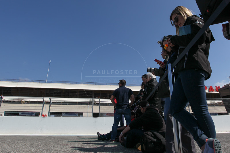 Media waiting for the launch of Toyota Gazoo TS050 at the  FIA WEC Prologue held at  Circuit Paul Ricard, Le Castellet, France from the 24th-26th of March 2016
