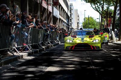 #95 Aston Martin Racing Aston Martin Vantage AMR: Marco Sorensen, Nicki Thiim, Darren Turner, Le Mans 24 Hours Public Scrutineering, Place de la République, Le Mans, France