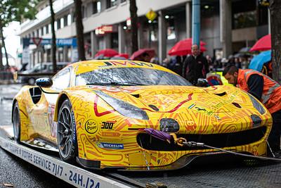 #84 JMW Motorsport Ferrari 488 GTE: Jeffrey SEGAL, Rodrigo BAPTISTA, Wei LU, Le Mans 24 Hours Public Scrutineering, Place de la République, Le Mans, France