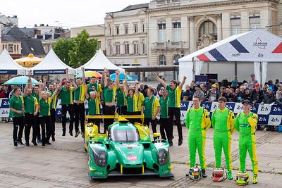 #34 INTER EUROPOL COMPETITION Ligier JSP217 Gibson: Jakub SMIECHOWSKI, Nigel MOORE, James Winslow, Le Mans 24 Hours Public Scrutineering, Place de la République, Le Mans, France
