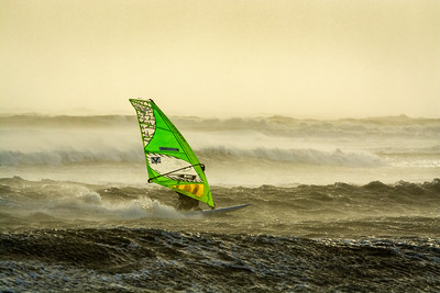 Windsurfing at twilight