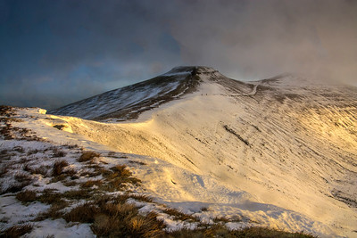 Corn Du And Pen y Fan in the Mist Brecon Beacons