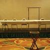 Kellogg Ballroom stage/riser setup for panel discussion