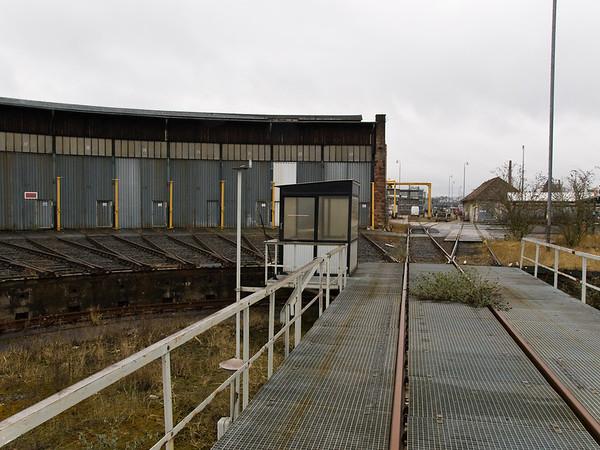 Rundlokschuppen des Bahnbetriebswerkes Darmstadt beim Eisenbahnbetriebsfeld Darmstadt