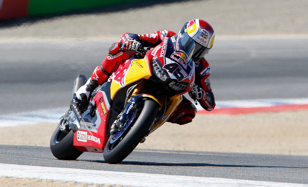 . Honda Red Bull Team rider Jake Gagne (46) rides out of turn-2 at the FIM Superbike World Championship at Mazda Raceway Laguna Seca on Sunday, July 9, 2017.  (Vern Fisher - Monterey Herald)